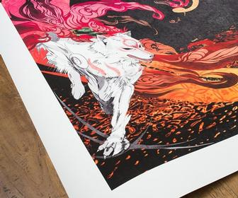 Beautifully illustrated Okami game prints by Cook & Becker