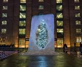 Alex Chinneck's giant ice cube Christmas tree at Kings Cross