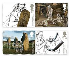 Prehistoric Britain is laid out in these Royal Mail stamp illustrations