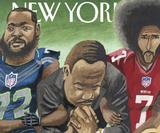 Martin Luther King Jr kneels with NFL stars on The New Yorker cover