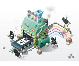 Design an isometric infographic