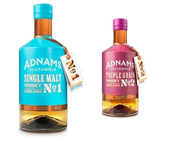 Brightly coloured Adnams whisky bottle designs go against the grain