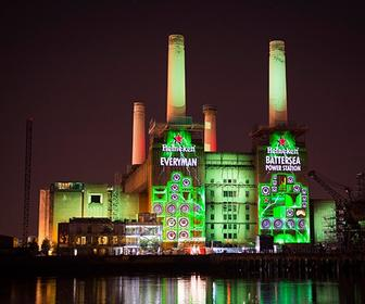 Watch huge projection-mapped visuals on Battersea Power Station for Heineken's Jungle gig