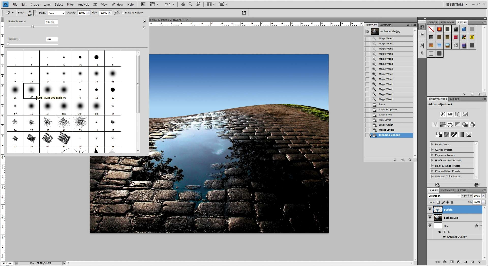 how to add a puddle in photoshop