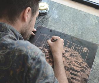 How illustrator Ugo Gattoni created his first drypoint etching