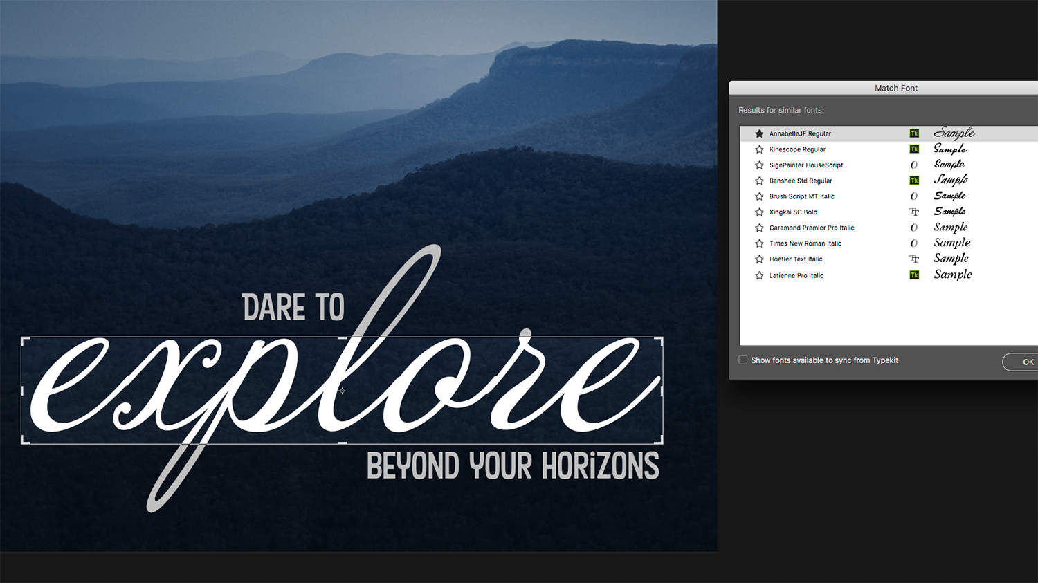 Photoshop tutorial: How to use Photoshop's new Match Font tool to ...