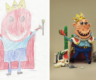 Children's monster drawings recreated by professional illustrators