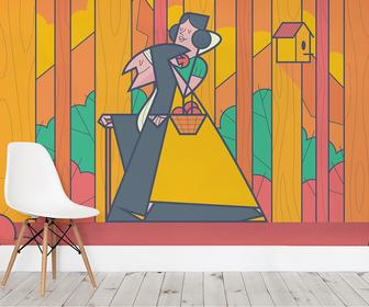 These wallpaper illustrations put a contemporary spin on classic fairy tales